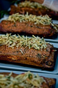 Cedar Plank Grilled King Salmon with Apple, Fennel and Horseradish Slaw