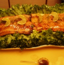 Grilled Salmon with Bourbon Honey Chipotle Glaze & Candied Limes